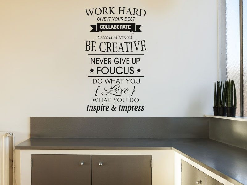 Work Hard Inspirational Wall Art Quote Vinyl Wall Decal Wall Sticker - Custom vinyl wall decals uk how to remove